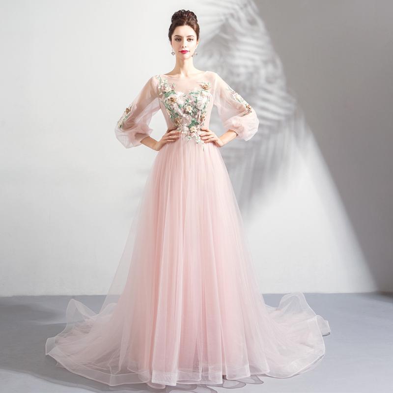SSYFashion besonderen Anlass Kleider für Frauen rosa lange ...