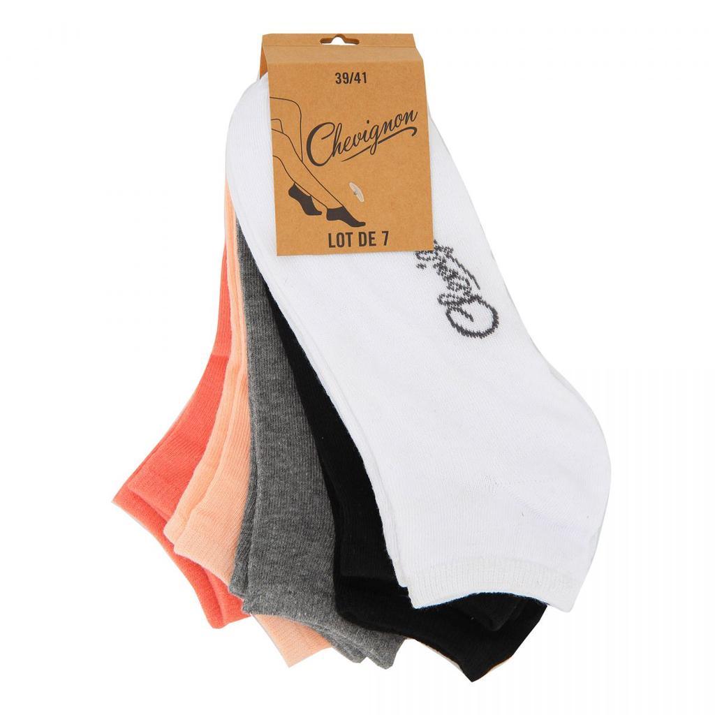 Chevignon Lot  de 6 Paires de Socquettes Mixte Coton noir et gris