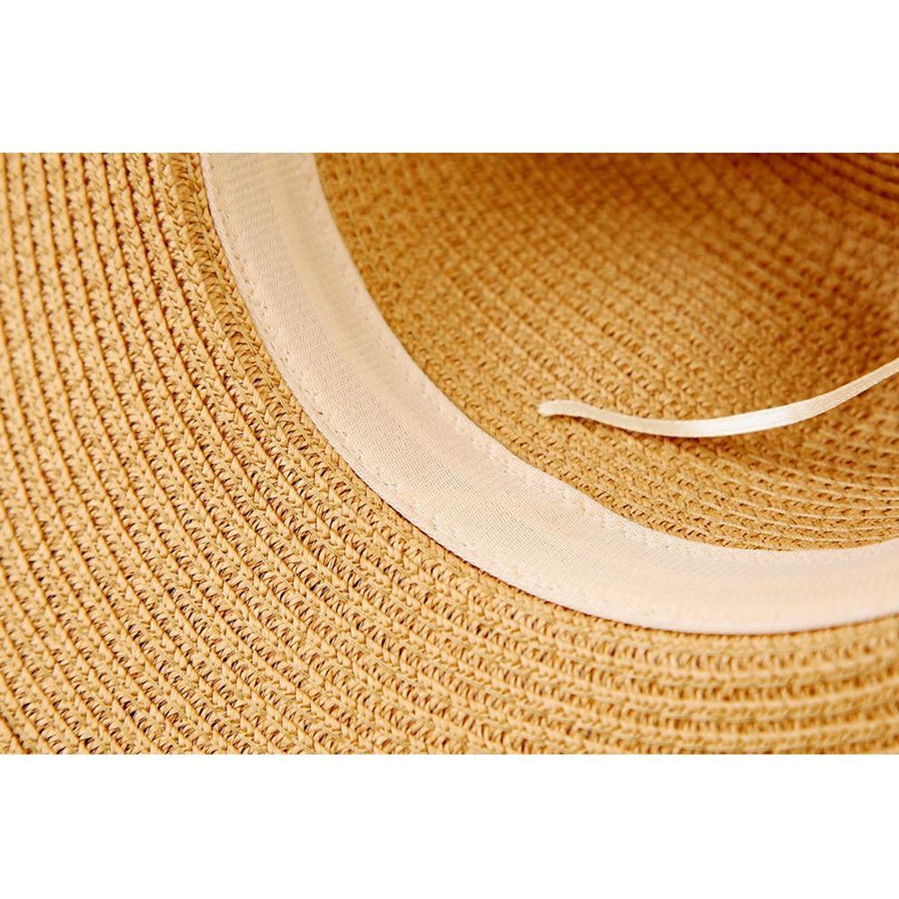 1582f2138089d Chapéu de palha mulheres aba larga panamá arregaçar chapéu rebite decoração  de couro canudo de jazz