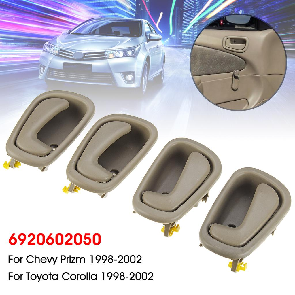 4 PCS Front Rear Driver /& Passenger Side Interior Door Handles for 1998 1999 2000 2001 2002 Toyota Corolla /& Chevy Prizm Replace # 69205-02050 69206-02050