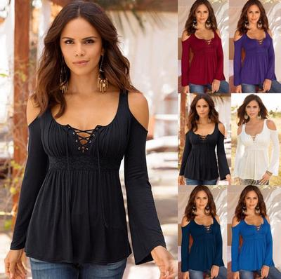 d1f326456e6 Women s Strappy V-neck Cold Shoulder Long Sleeve Casual T-shirt 5 Colors  Plus
