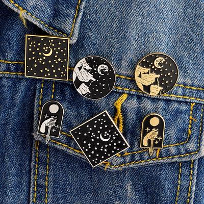 1pc Cute Telescope Universe Metal Badge Brooch Button Pins Denim Jacket Pin Jewelry Decoration Badge For Clothes Lapel Pins Selected Material Home & Garden
