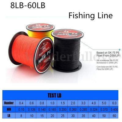 Super Strong 300M Tri-Poseidon Series Multifilament PE Spectra Braid Fishing Line 4 Stands 8