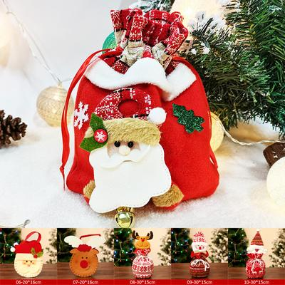 1PC Creative Elk Handbag Three-Dimensional Doll Bundle Pocket Santa Claus Apple Bags Christmas