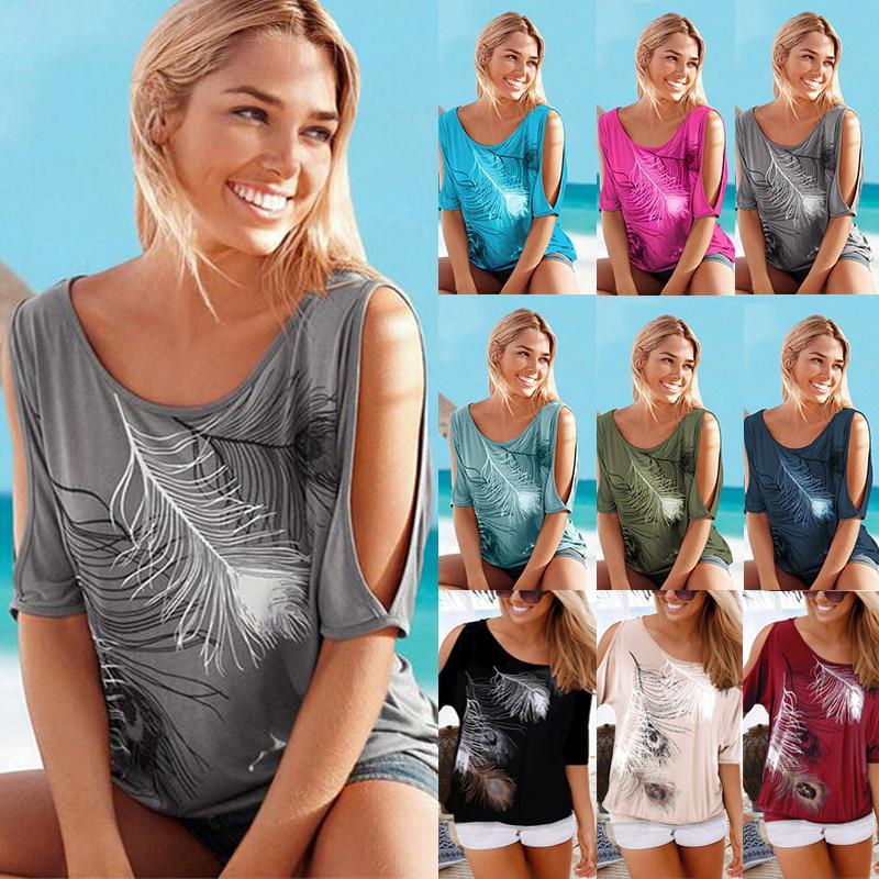 S-5XL женщин перо печатных футболки O-Шея без бретелек рубашки Повседневные топы плеча фото