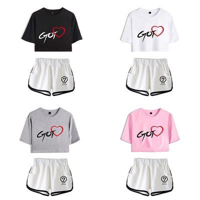 40d67f205d GOT7 Summer Style Loose Short Women T-shirts Crop Top Crochet Crop Tops and  Shorts