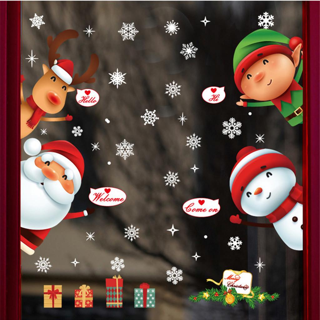 CHRISTMAS GEL LARGE STICKERS Window Glass Home Decoration Xmas Decals Shop UK