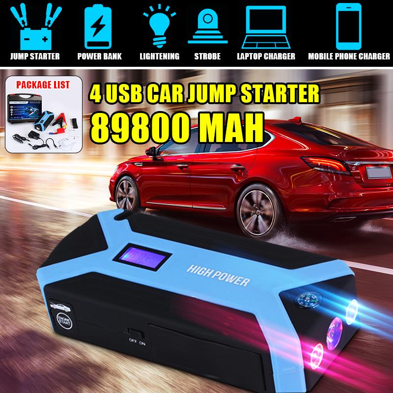 4 USB 89800mAh Car Jump Starter Rescue Pack Booster Battery Power Bank Charger