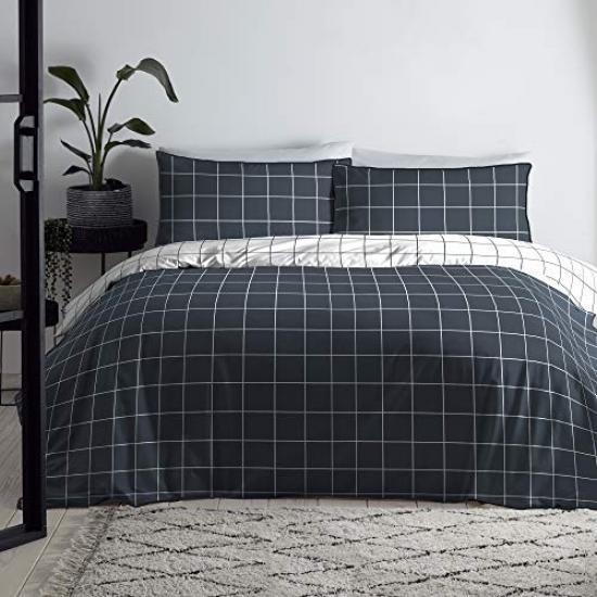 Appletree Harvard Plaid Bed Set 100, Super King Bedding Set Blue