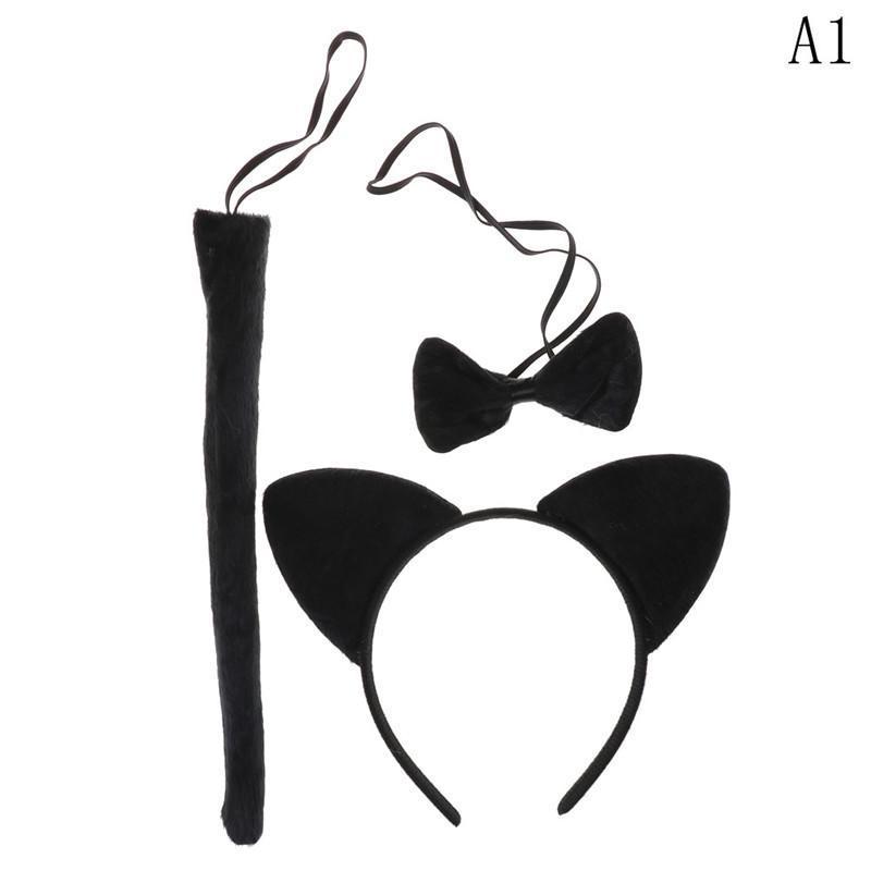 Funny Black Cat Ears Headband Bow Tie Tail Set Halloween Party Costume PropsTPO