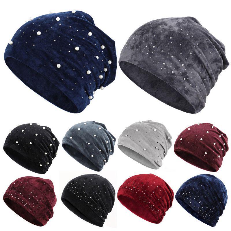 Женская зимняя бархатная шляпа Skullies Шапочки Мягкие теплые блестящие жемчужные шляпы со стразами – купить по низким ценам в интернет-магазине Joom