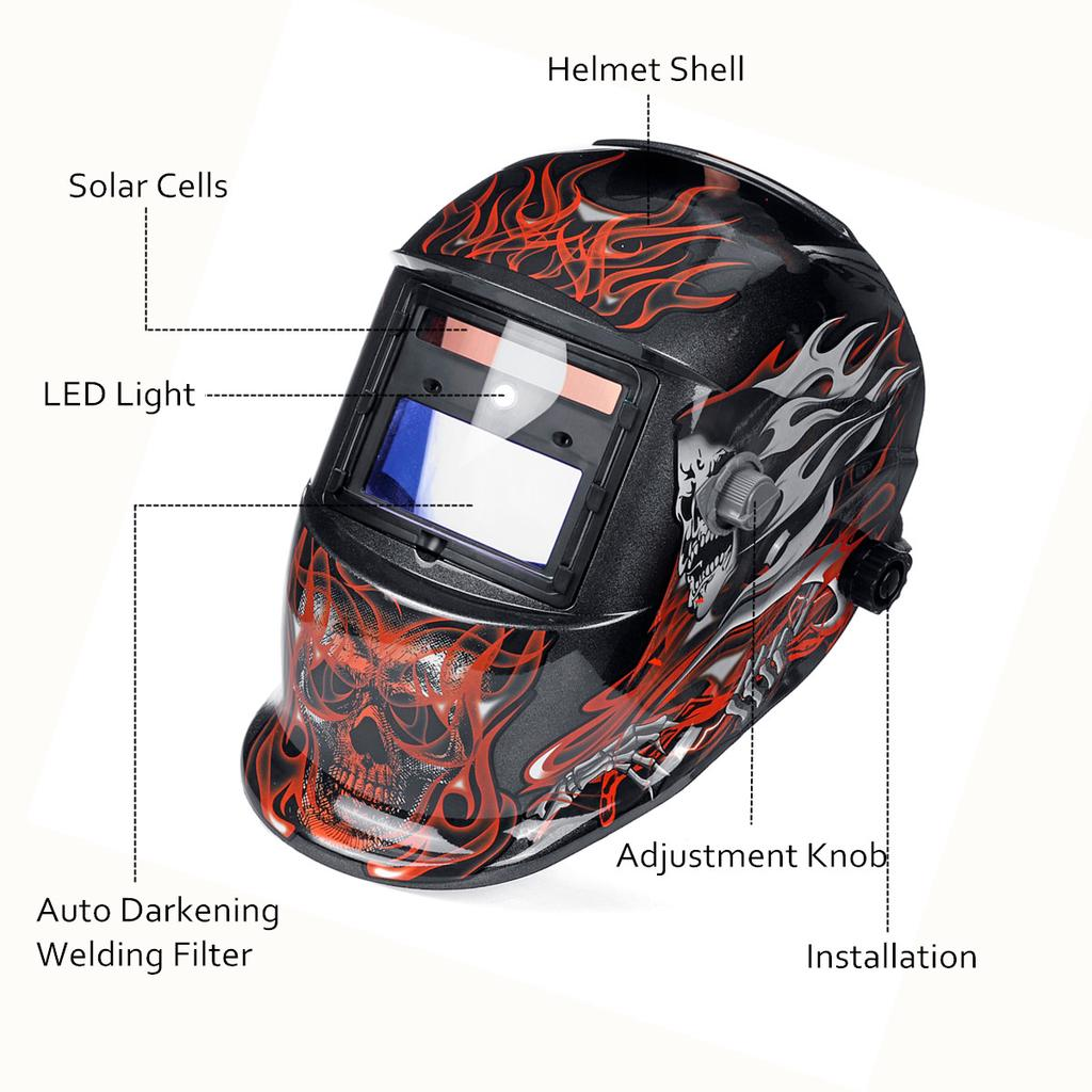 Solar Energy Automatic Dimming Welding Mask Head-Mounted Welding Helmet Shield UV Protection Bright Light Filter for Welding