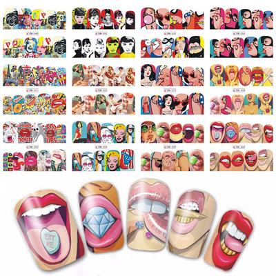 Special Nail Art Sticker Diy Water Transfer Cool Girl Full Wraps Lips Designs Nail Art Manicure Decal 12pcs Lot Bn349 360 Buy At A Low Prices On Joom E Commerce Platform