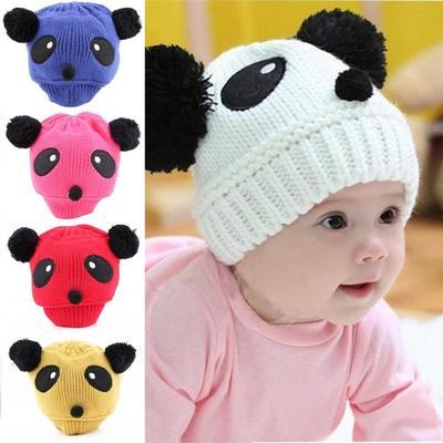 Cute Panda Baby Hats And Caps Kids Boy Girl Crochet Beanie Children Keep  Warm Hats Winter 57b5203ce748