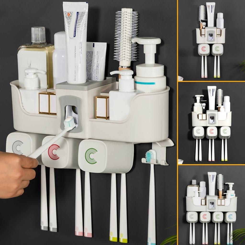 Stainless Steel Toothpaste Dispenser+2//3 Toothbrush Holder Set Wall Mount Stand~