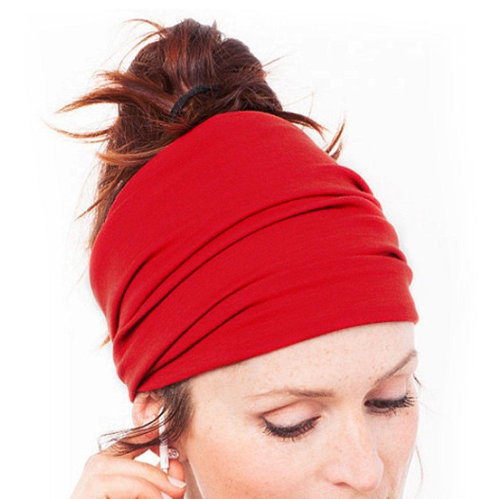 1PC Solid Color Cotton Elastic Hairband Headband Head Wrap Band for Sport Yoga