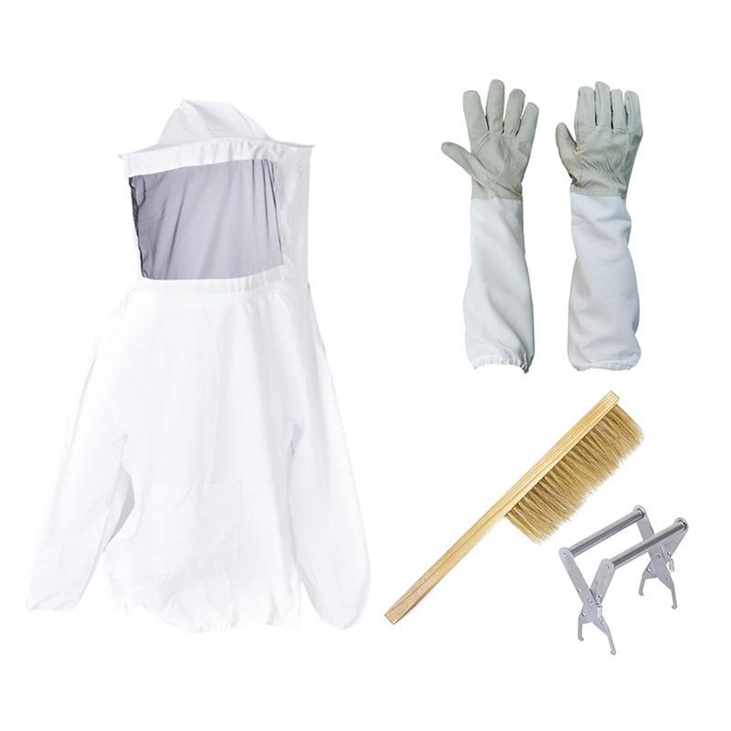 Beekeeping Suit Bee Honey Keeping Equipment Gloves Hive Brush Hook Veil Set Q