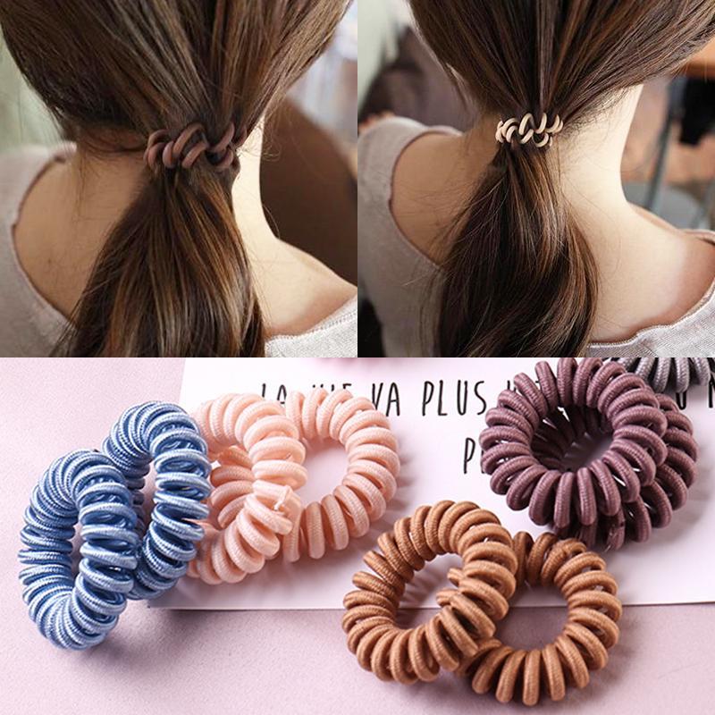 3 Pcs Spiral Coil Thin Elastic Hair Ties Ponytail Phone Cord Hair Ring Rope Set