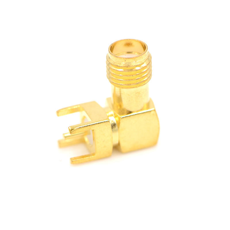 RP-SMA Female Plug Center Right Angle Solder PCB Mount RF Connector