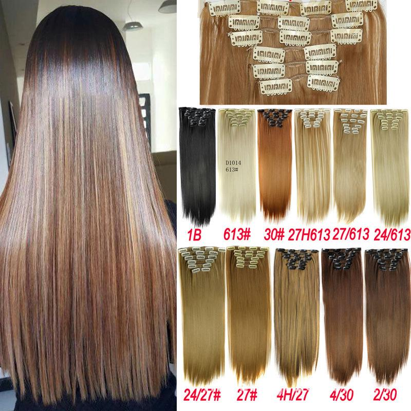 Buy Hair 24'' Long Straight Women Clip In Hair Extensions Black Brown High  Tempreture Synthetic Hair at affordable prices — free shipping, real  reviews with photos — Joom