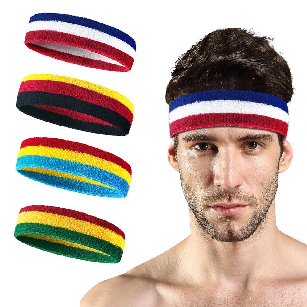 Sport Mens Sweatband Headband Yoga Gym Stretch Head Band Sweat Hair Band DE