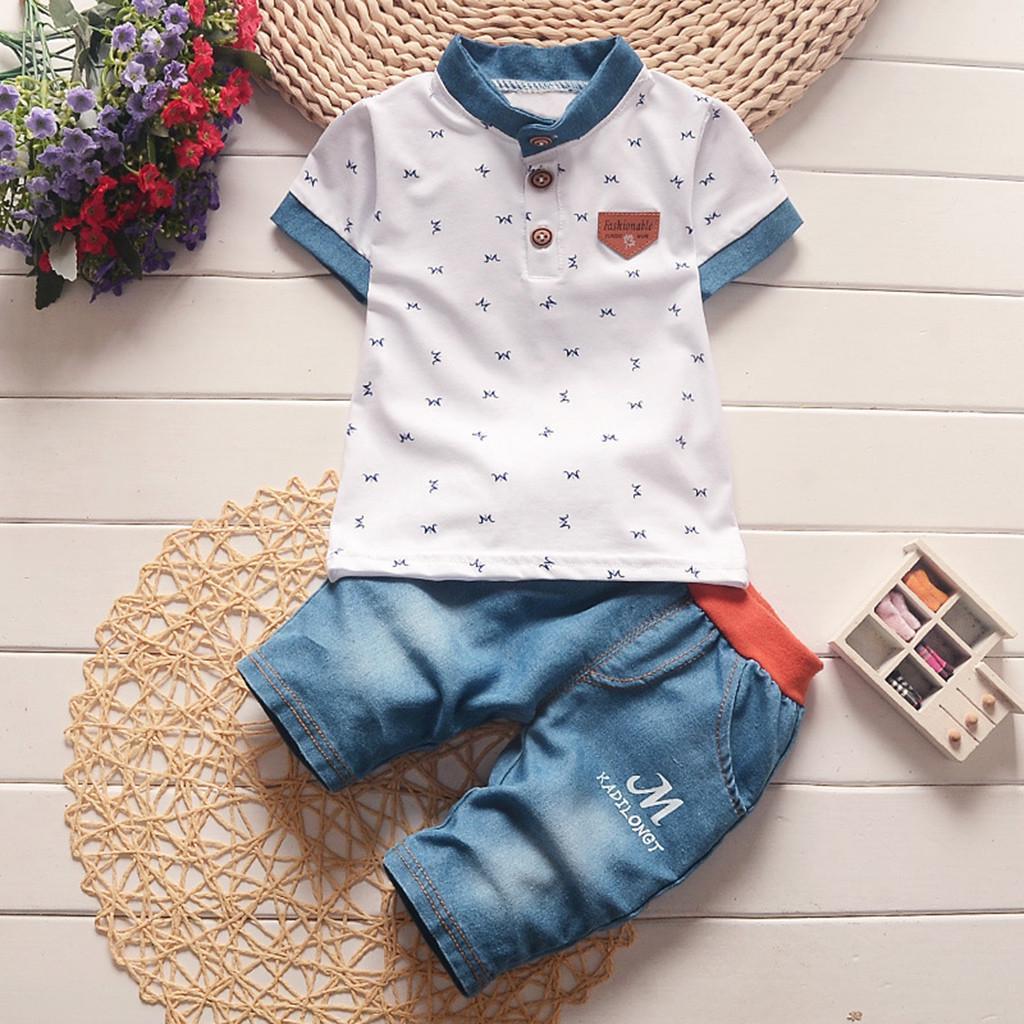 Toddler Baby Boy Summer Clothes 2PCS Set Outfits Short Sleeve T-Shirt+Baby Boy Shorts