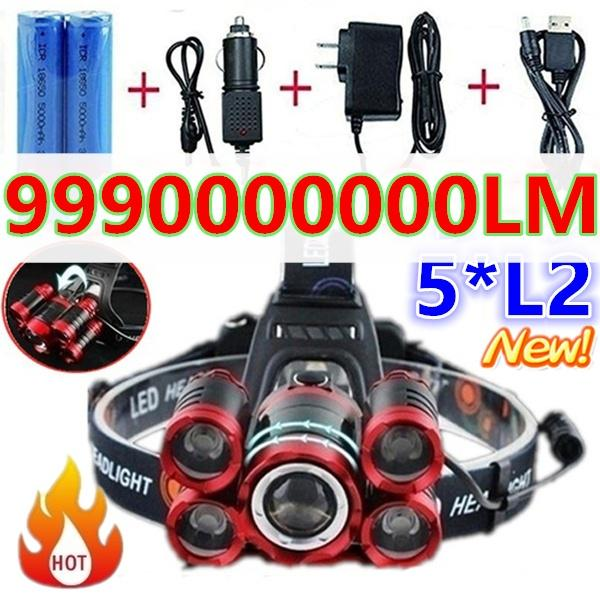 Tactical Glare LED Flashlight Torch Headlight Headlamp Charger Battery