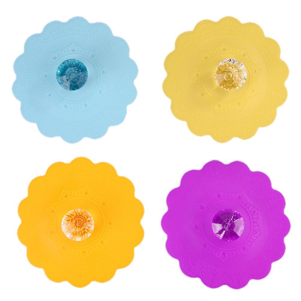 de calidad alimentaria Diamond cubierta de la taza tapas de succi/ón de polvo 6pcs Flores de silicona taza tapa