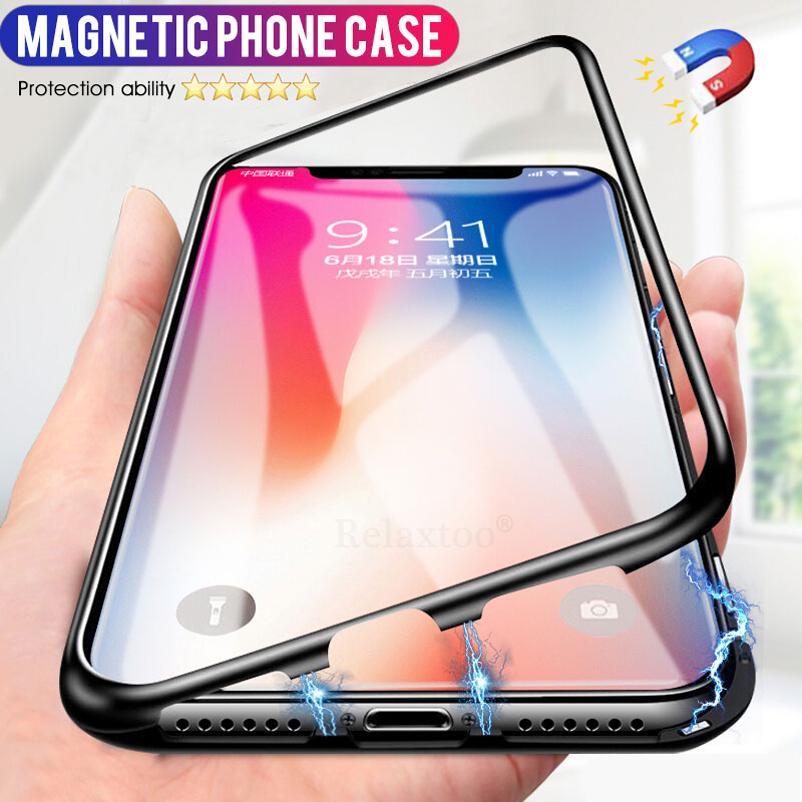 Рамка магнитная Адсорбирование закаленное стекло задняя панель телефон чехол для iPhone XS Max XR X 8 7Plus