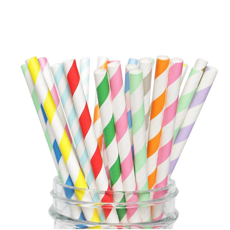25//50//100pcs Drinking Paper Straw Stripe Favor Summer Beach Birthday Party Decor