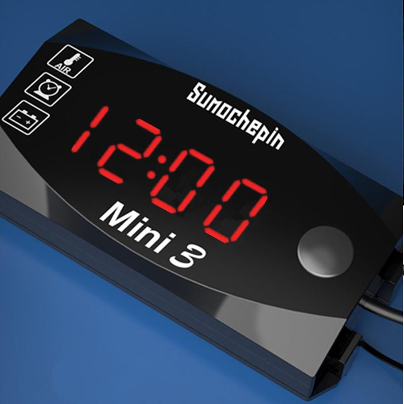 DC 12V 24V Waterproof LED Digital Display Voltmeter Round Panel Voltage Meter 1