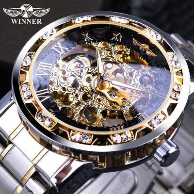 Transparent Fashion Luminous Gear Movement Royal Design Men Top Brand Luxury Male Mechanical Skeleton Wrist Watch