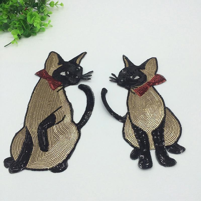 Mantel Kleider Katze Pailletten Patch Paillette Applique Annähen Bestickt