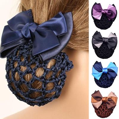 1PC Hairgrips Hotel Office Snood Bowknot Net Bun Hair Clip Women Barrette Hair Cover Hair Jewelry