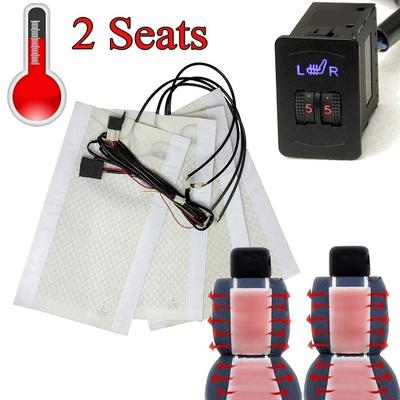 Car Heated Seat,2pcs Universal Carbon Fiber Car Heated Seat Heater Pads Kit with Round Switch 1 Set