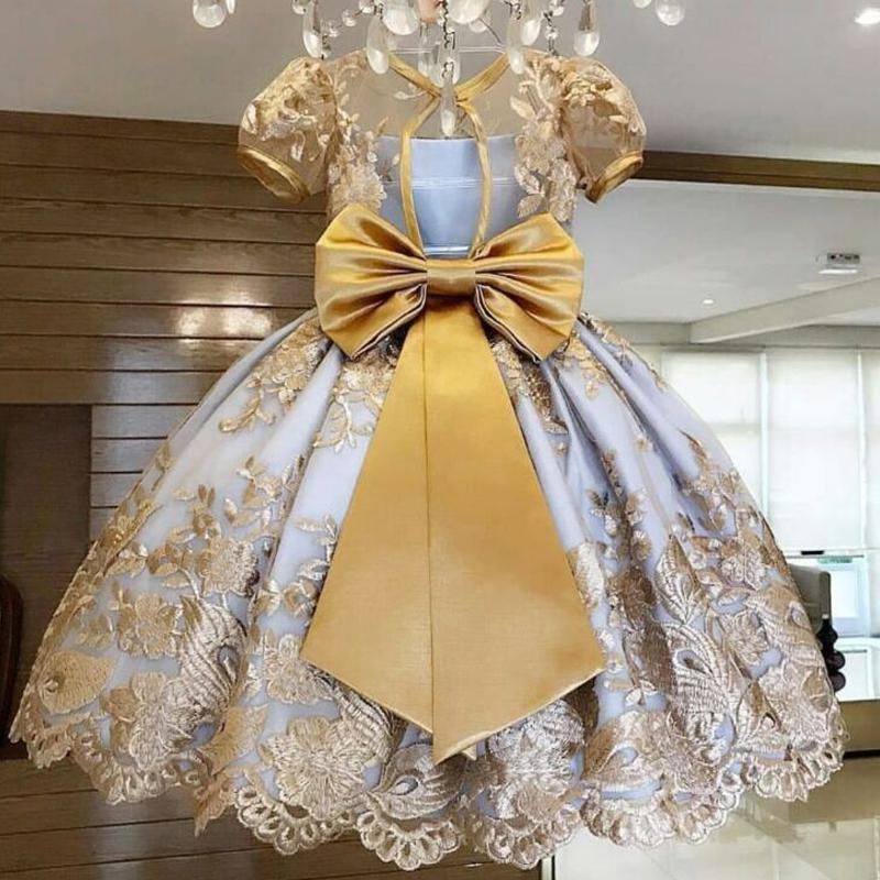 Baby Girl вышитые платье Новый год вечерние платья Элегантные принцессы Свадебные Бал
