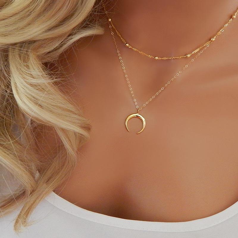 Boho Multilayer Star Moon Chain Choker Pendant Necklace Bib Statement Jewelry SE