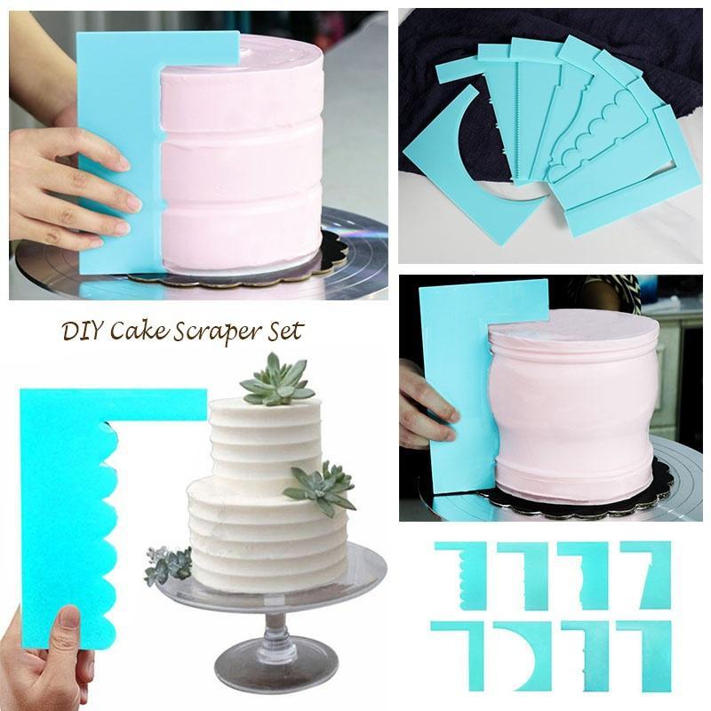 Random Color Hemoton 6pcs Long Cake Spatulas Silicone Cream Spatula Butter Scraper Icing Smoother Kitchen Gadget
