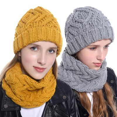 Knitted Hat Women Winter Soft Keep Warm Beanies Plus Velvet Fashion Pompom Knit Cap Outdoor Warm Casual Hat