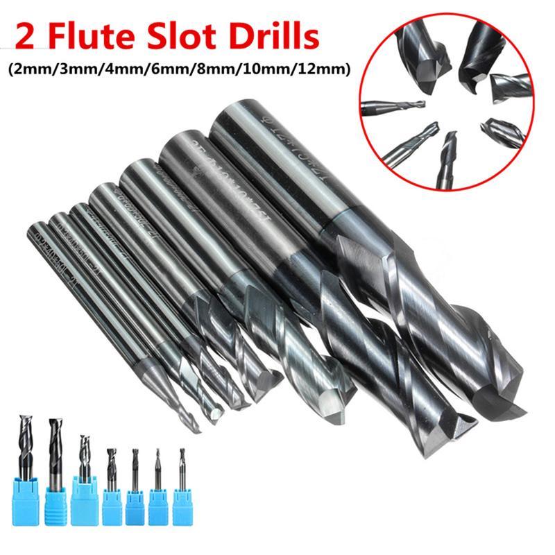 7pcs Solid Carbide End Mill 4-Flutes CNC Milling Cutter Drill Bit Parts Durable