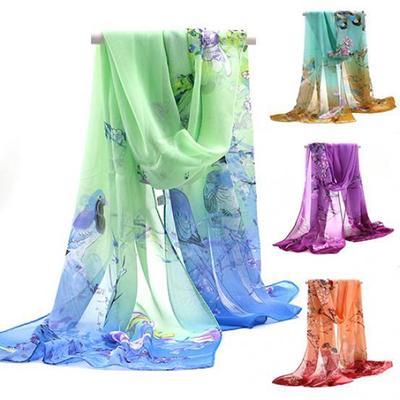 Mode Femme Neuf Vert Penoy Fleur en mousseline de soie doux automne étole écharpe châle