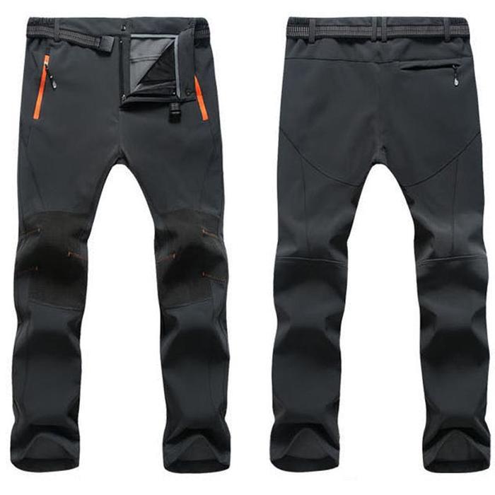 Men Warm Waterproof Thick Fleece Pants Hiking Camping Skiing Trousers Casual
