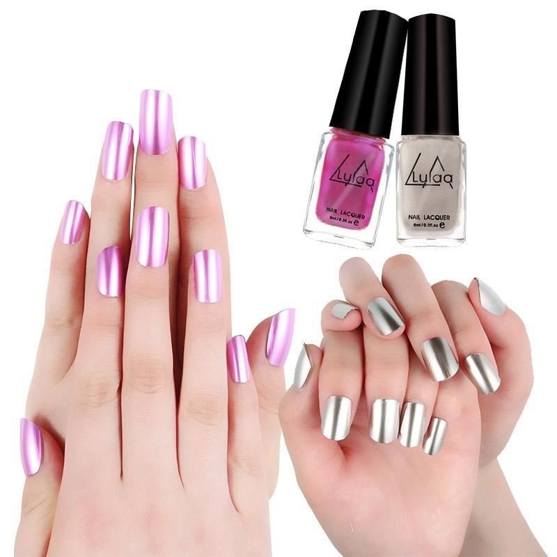 Espejo de niñas pasta esmalte de uñas de Color del Metal de la ...