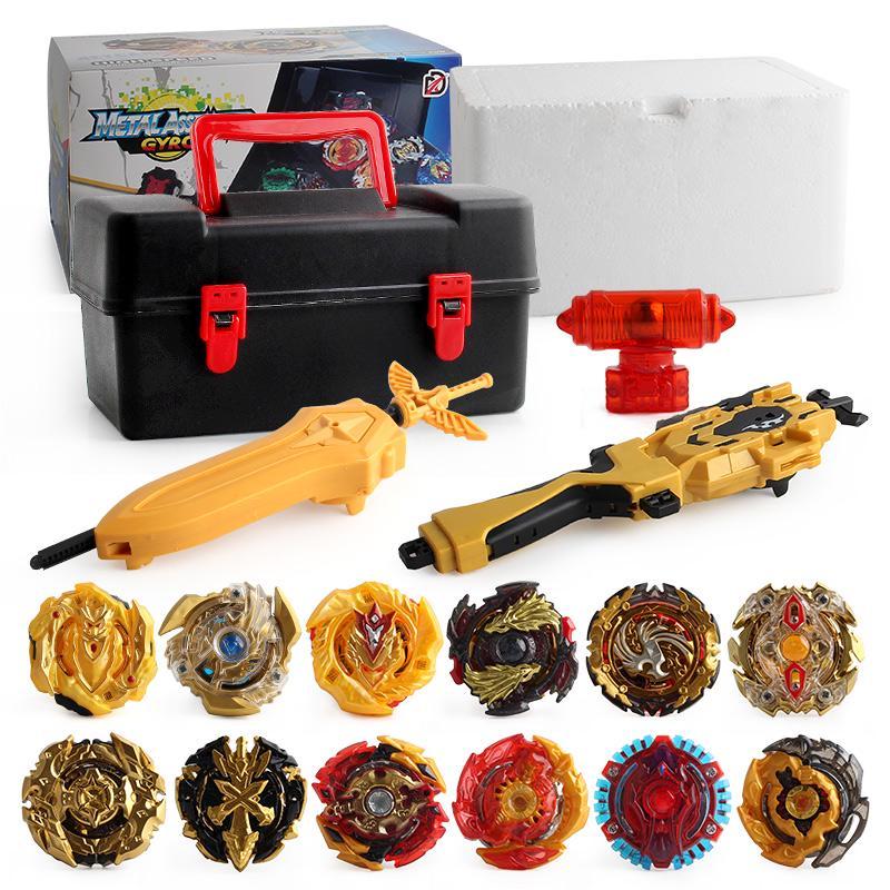 12 Gold Gyro Beyblade Burst Set w// Grip Launcher Portable Storage Box Case Top