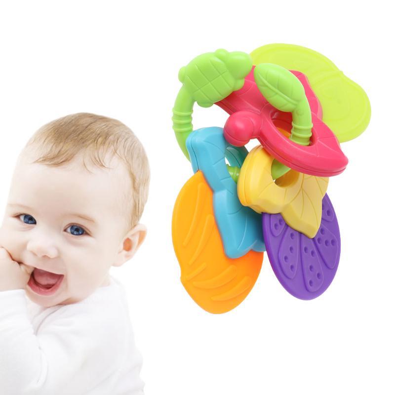 6x Beißringe Braun Entwicklungs Spiezeug und Geschenk für Kinder und Babys