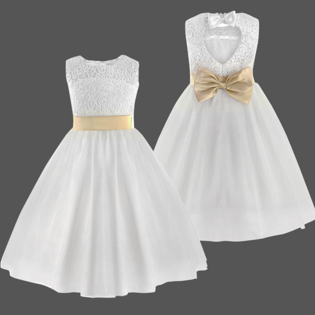 Flower Girl Dress Kids Birthday Wedding Bridesmaid Pageant Communion Formal Gown