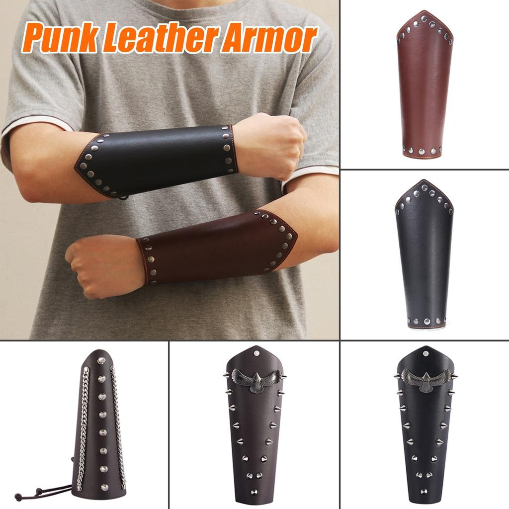 Mens Medieval PU Leather Bracers Cosplay Punk Arm Armor Cuff Wristband Costume