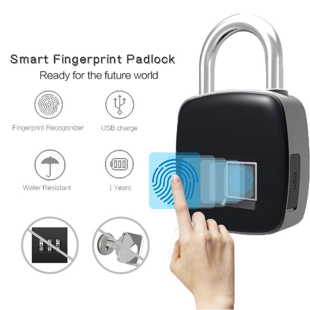 Waterproof Fingerprint Lock Smart Keyless Padlock For Door Box Bag USB Charging