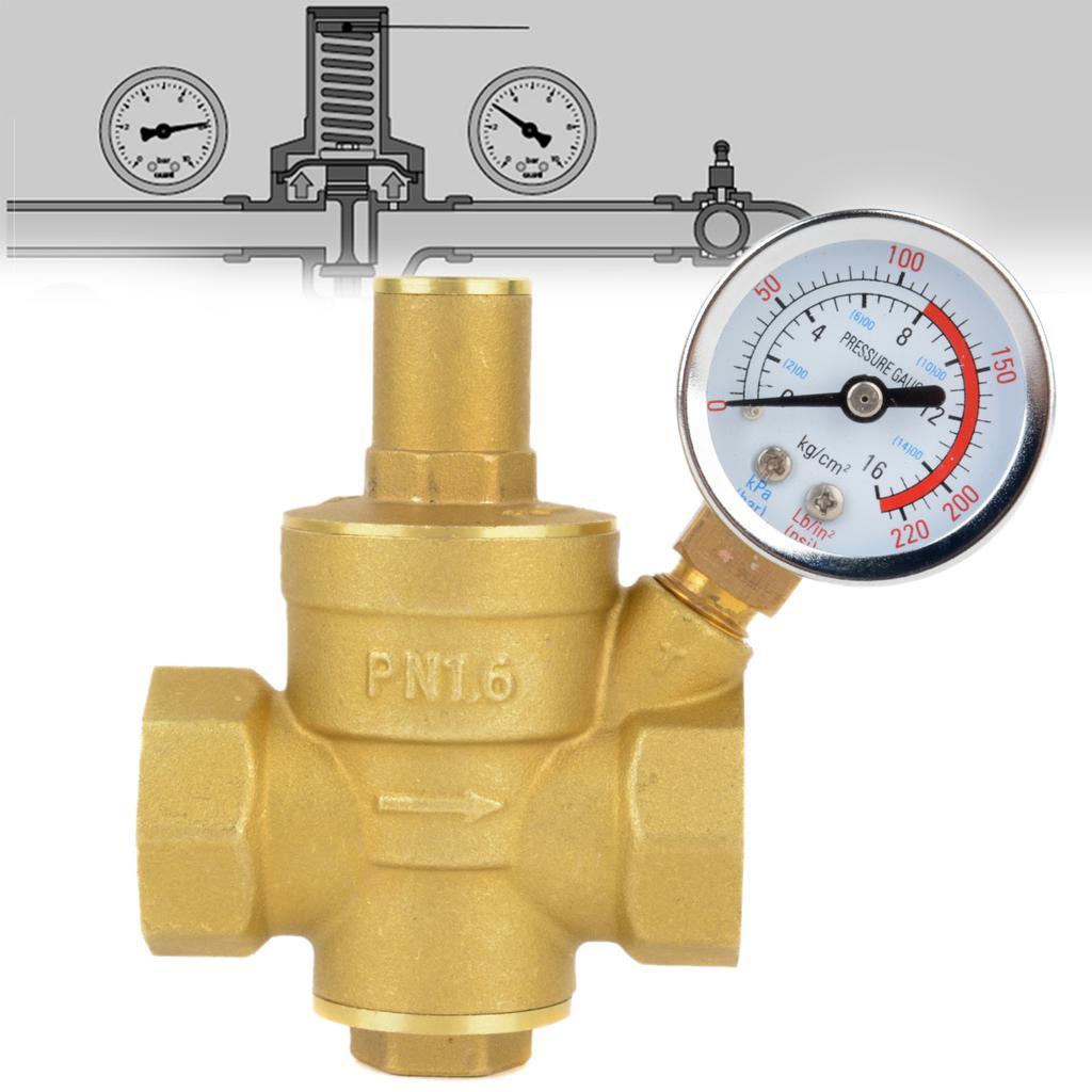 V/álvula reguladora de presi/ón de agua v/álvula reductora de presi/ón Regulador de presi/ón de agua de lat/ón con medidor de indicador