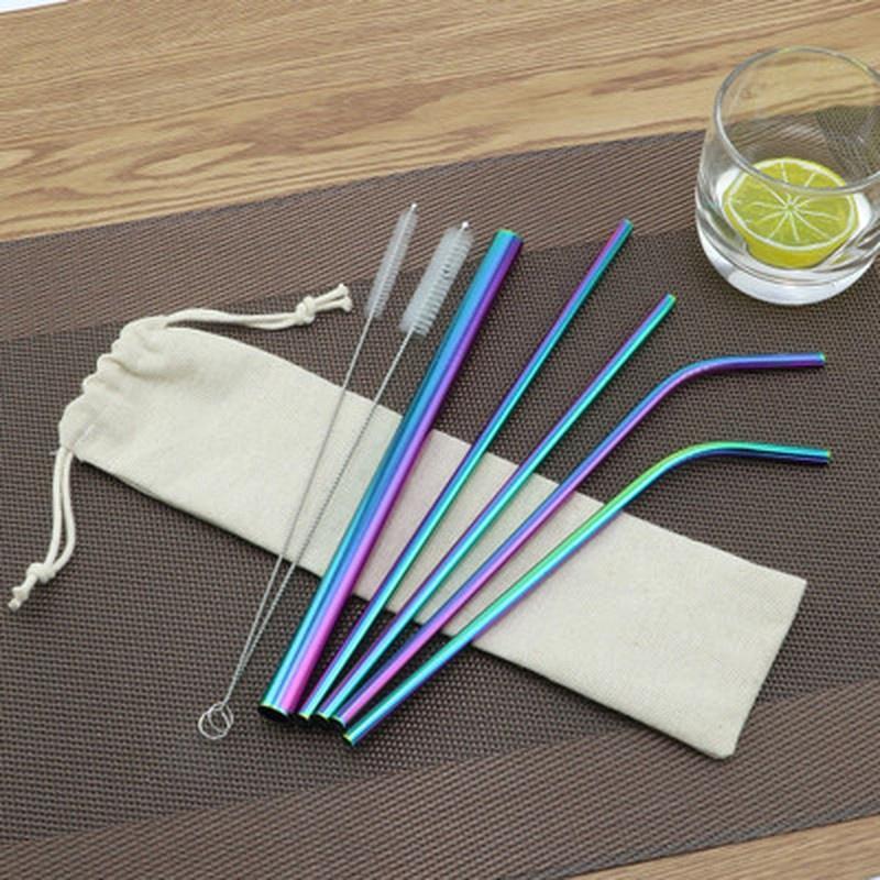 4X Bent Réutilisable Métalliques En Acier Inoxydable Drinking Party Pailles Cleaner Brush Case